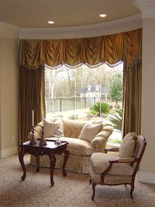custom curved window valance drapery