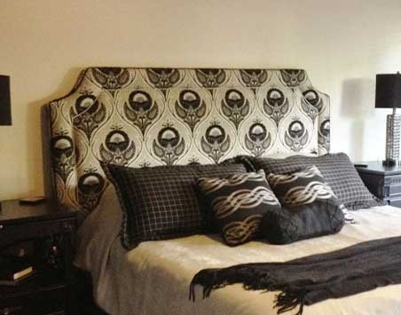 custom headboard and bedding by sophies
