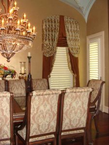custom dining chairs and window treatment