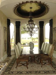 elegant dining window treatment