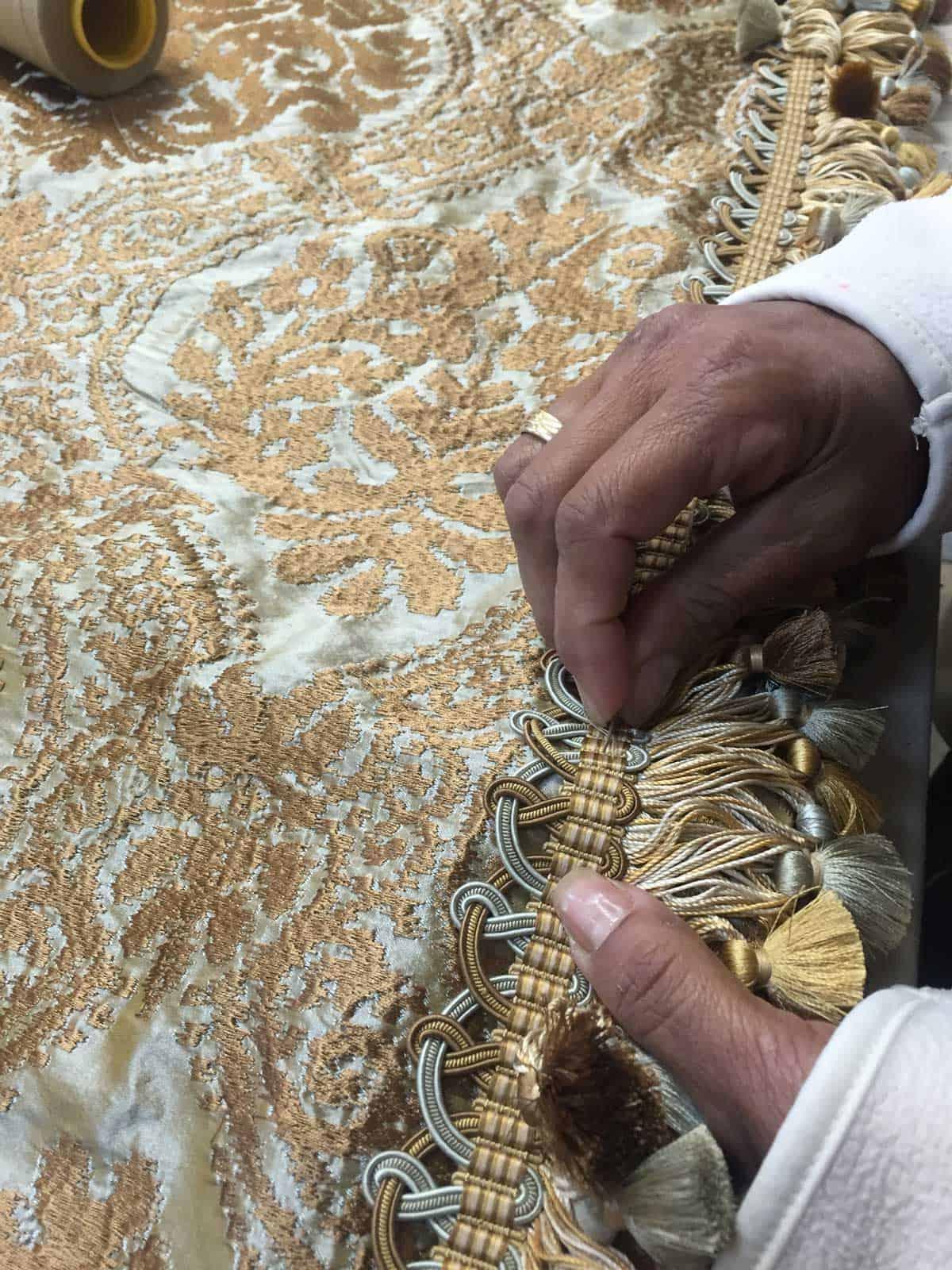 hand stitching fabric